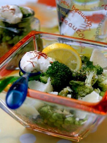 Vegetable quinoa with saffron sauce(quinoa aux legumes et sauce au saffran.)
