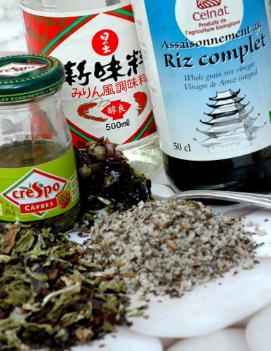 ingredients for seaweed appetizers