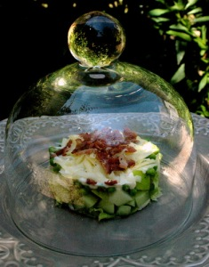 Karen's salad under a cloche