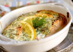 Salmon with creamy herb sauce 1