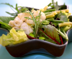 Summer garden salad with calamari