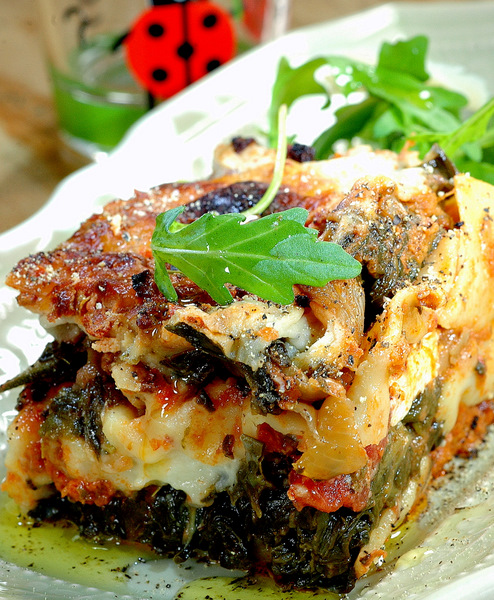 spinach and courgette lasagne
