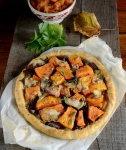 Rustic pumpkin tart with goats cheese