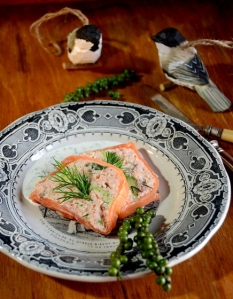 Two salmon and avocado terrine