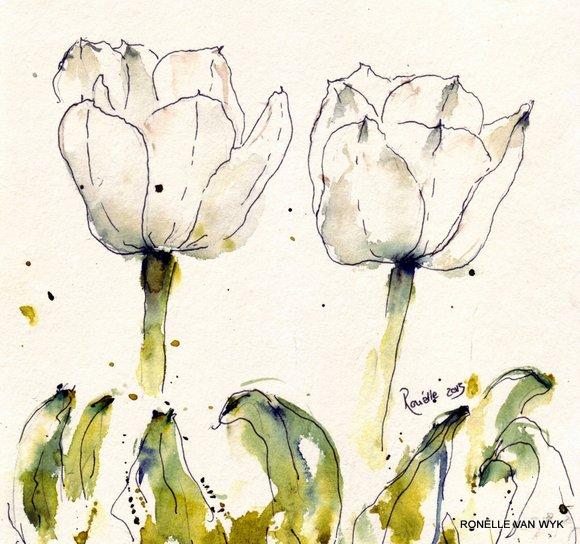 Ronelles art-watercolor-flower paintings-white tulip