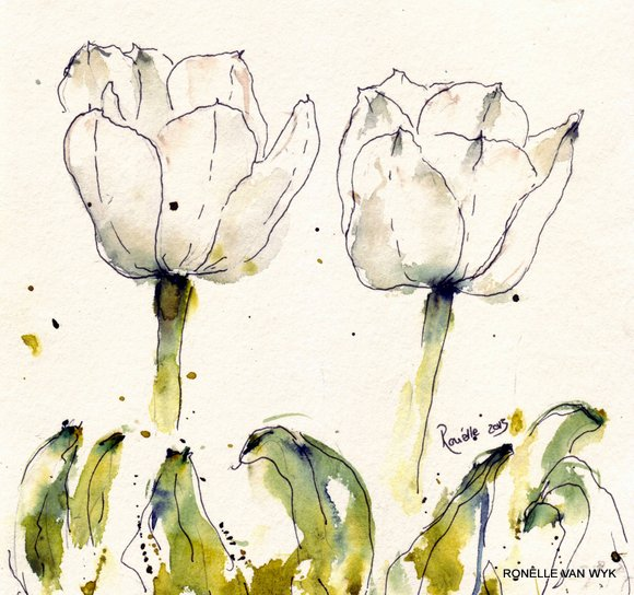 Ronelles art-watercolor-flower paintings-white tulip