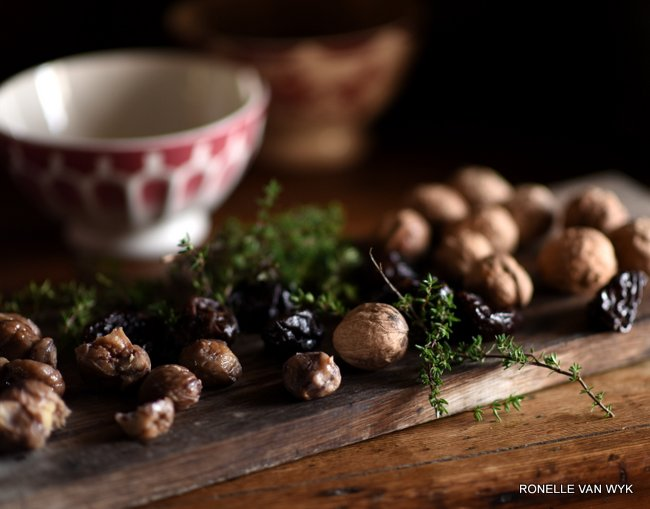 chestnuts, walnuts and prunes for autumn.