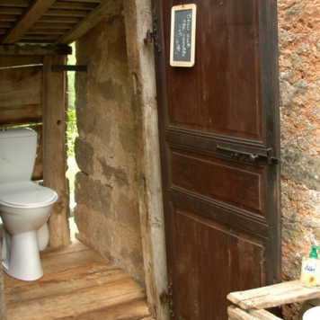 The beginning of barn life toilette